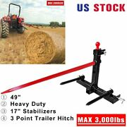 49 3 Point Hay Bale Spear Trailer Hitch Receiver Cat 1 Tractor W/gooseneck Ball