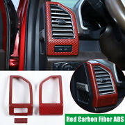 Red Carbon Fiber Abs Dashboard Side Air Vent Outlet Trim For Ford F150 2015-2020
