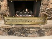 Large Antique Reticulated Brass Fireplace Fender Guard Surround Lion Paw Feet