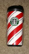 2009 Starbucks Red And White Candy Cane Striped Christmas Tumbler 8 Oz Coffee Cup