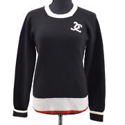 96a 42 Cc Logos Long Sleeve Knit Tops Black Cashmere Authentic 35346