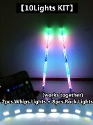 Fialighting 2pcs 4ft Chasing Twisted Whips Lights + 8pcs Chasing Rock Lights Kit