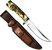 Schrade Uncle Henry Golden Spike 9 1/4 W/leather Sheath Staglon Handle 153uh