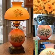 """Vintage Hurricane Lamp Gone With The Wind Floral Round Globe Stage Set Prop 21"""""""