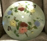 """Stiffel Lamp Shade/bowl Hand Painted Floral On Bottom Convex Side 16"""" Diameter"""