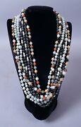 Estate Found Group 7 Jade And Hardstone Bead 14k Gold Strand Necklaces