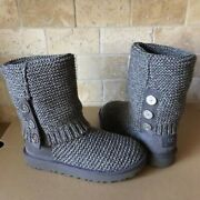 Ugg Cardy Purl Knit Button Charcoal Grey Classic Tall Short Boots Size 7 Womens