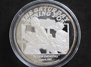 1988 Norman Rockwell No Swimming 2 Troy Oz. Silver Round D8203