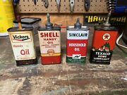 Handy Oiler Nice Advertising Oil Cans Vickers Shell Texaco Sinclair Lead Tops
