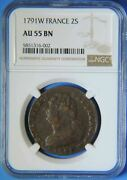 1791 W France 2 Sols Coin Lille Mint Ngc Graded Au55 About Uncirculated French