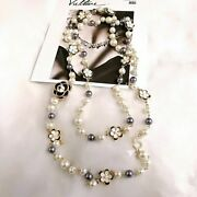 Colorful Pearl Bead Pendant Luxury Chain Necklace Vintage Ladies Jewelry 1pc