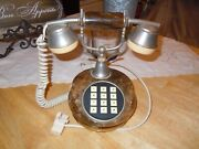 Vintage Marble Push Button Phone Unkonwn If Working