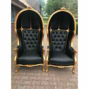 French Black Leather Throne Balloon Chairs-a Pair