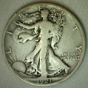 1921 D Walking Liberty Silver Half Dollar Coin Fifty Cents Us Type Coin Fine