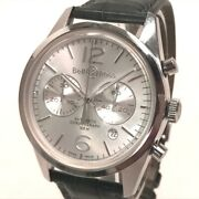Bell&ross Br126-94-sp Date Vintage Officer Chronograph Wristwatch Ss/leather