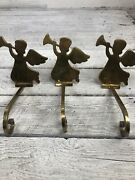 Lot Solid Brass Angels With Trumpets Christmas Stocking Holder Hangers Set Of 3