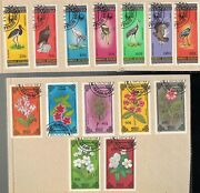 2 1985 And 1986 Mongolia Birs And Flowers 7 Stamp Sets Mnh
