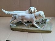 Royal Dux Bisque Porcelain Figurine Bird Hunting Dogs 2429