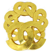 Cc Logos Brooch Pin Corsage Gold-tone 97p Accessories Authentic Ak38270b