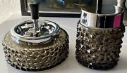 Vintage Erhard And Sandoumlhne Roulette Ashtray And Cigarette Canister Smoked Glass Rare
