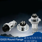 Gx20 Aviation Plug Socket Round Flange Connector 2/3/4/5/6/7/8/9/10/12p Contacts