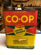 Vintage Co-op Farmers Union 2 Gal Oil Can Antique Car Truck Tractor Equipment