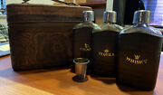 Vintage Leather Carrying Case With 3 Glass Flasks