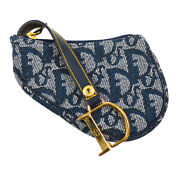 Christian Dior Trotter Saddle Coin Purse Wallet Mini Pouch Navy Tr0032 36934