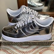 Nike Air Force 1 Low Sp Liquid Metal Chrome Silver White Sz 13 Cq6566-001
