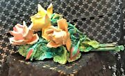 Italian Made Capodimonte Style Porcelain Roses On Stems 3 Flowers 2 Buds