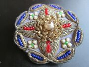 Victorian Bullion Shield Patch Crest Badge Pin, Cotton Wool Thread Beads Crowned