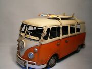 Vw Camper Van Retro Model Shabby Chic Vintage Large Tinplate Orange V W Camper
