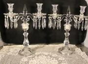 Heisey Old Williamsburg Two Light Crystal Candleabra Matching Pair