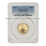 1999 10 Eagle Pcgs Ms70 American Gold Bullion Coin 1/4oz 22-kt Low Pop Of 77