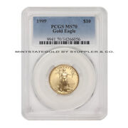 1999 10 Eagle Pcgs Ms70 American Gold Bullion Coin 1/4oz 22-kt Low Pop Of 86