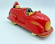 Vintage Walt Disney Mickey Mousse Red Sun Rubber Toy Car Incomplete