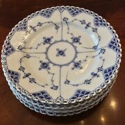 4 Royal Copenhagen Blue Fluted Full Lace Salad Plates 1/1086 Quick Shipping