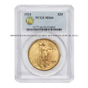 1924 20 Gold Saint Gaudens Pcgs Ms66 Pq Approved Gem Graded Double Eagle Coin