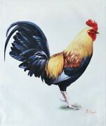 E. Tapai Rooster Framed Art Print On Canvas 20x24 Farm Animal Chicken