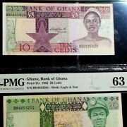 1982 Pmg Ch Unc 63 Bank Of Ghana Ten And Twenty Cedis Two Notes Buy It Now