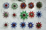 15 Old Matchless Glass Stars Christmas Tree Lights Ca. 1930 13810