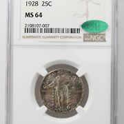 1928 Standing Liberty 25c Ngc Cac Certified Ms64 Premium Quality Toned Obverse