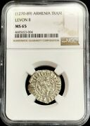 1270- 1289 Silver Cilician Armenia Tram Levon Ii Hammered Coin Ngc Mint State 65