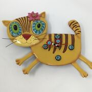 Allen Designs Cat Wall Clock Kimi Kitty Yellow Whimsy Studio Collection