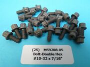25 10-32 X 7/16andrdquo Double Hex 12 Point Aerospace Aircraft Bolts Ms9208-05