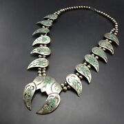 Vintage Navajo Sterling Silver Turquoise Chip Inlay Bird Squash Blossom Necklace
