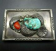 Vintage Navajo Hand-stamped Sterling Silver Coral And Turquoise Belt Buckle