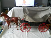 Vintage Marx West Covered Wagon With Horse
