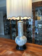 Vintage Marbro Hand Painted Bamboo Porcelain And Brass Lamp, 41 Tall, 10 Widest