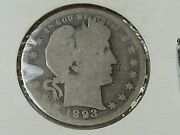 5 Early Date Silver Barber Quarters 1893 1894 1895 1897 1899. 39